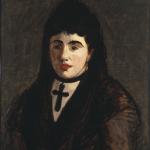 Spanish Woman Wearing a Black Cross