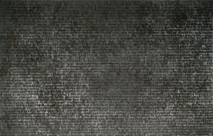 Glenn Ligon, Untitled, 2002, coal dust, printing ink, oil stick, glue, acrylic paint, and gesso on canvas, Dallas Museum of Art, DMA/amfAR Benefit Auction Fund