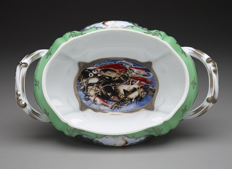 "Cindy Sherman, ""Madame de Pompadour (née Poisson)"" soup tureen with platter, interior, 1990, Ancienne Manufacture Royale de Francem, porcelain with silkscreen transfer and platinum decoration, Dallas Museum of Art, DMA-amfAR Benefit Auction Fund"