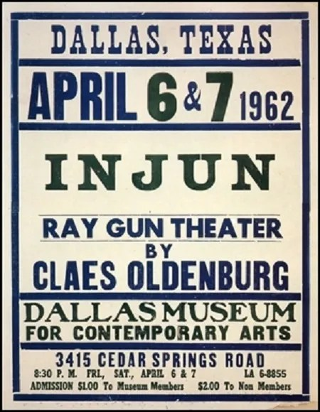 Claes Oldenburg, Poster for Injun Happening at the Dallas Museum for Contemporary Arts, April 6-7, 1962