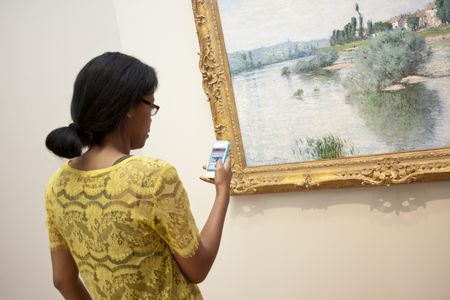Visitor using smARTphone tour, 2012