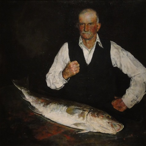 Charles Webster Hawthorne, The Fish and the Man, 1925, oil on canvas affixed to composition board, Dallas Museum of Art, Dallas Art Association Purchase