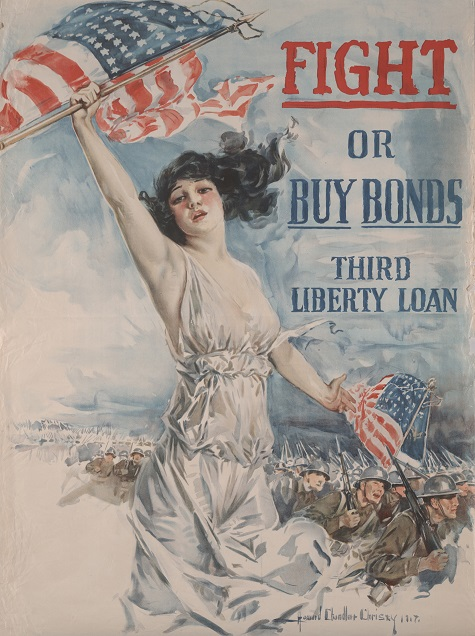 Howard Chandler Christy, Fight or Buy Bonds. Third Liberty Loan,  United States Department of the Treasury, Forbes Lithographic Manufacturing Company, 1917, color offset lithograph, Dallas Museum of Art, gift of Marcia M. Middleton in memory of Joel Middleton