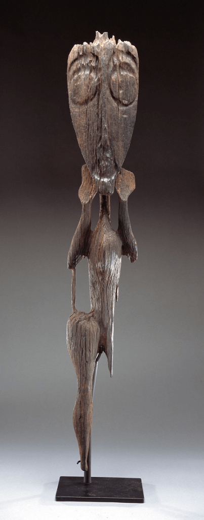 Standing figure, c. 1300-1800, Indonesia, East Kalimantan, Mahakam River Region, Belayan River, Kenyah-Kayan Complex, possibly Bahau or Bahau-related people, ironwood, Dallas Museum of Art, The Eugene and Margaret McDermott Art Fund, Inc.