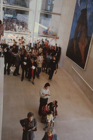 First visitors in the new museum, January 29, 1984