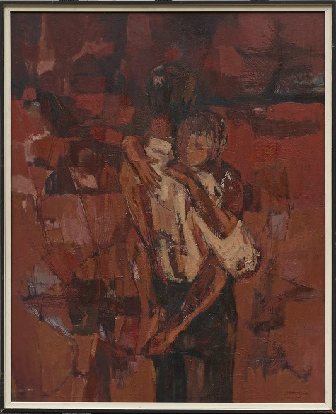 Wayne V. Amerine, Father and Child, 1962, oil on canvas, Dallas Museum of Art, Art Museum League Purchase Prize, 33rd Annual Dallas County Exhibition of Painting, Drawing and Sculpture, 1962