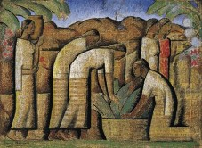 Alfredo Ramos Martinez, Workers (Trabajadores), 1944-1945, tempera on newsprint, Dallas Museum of Art, gift of Mr. and Mrs. William Weber Johnson