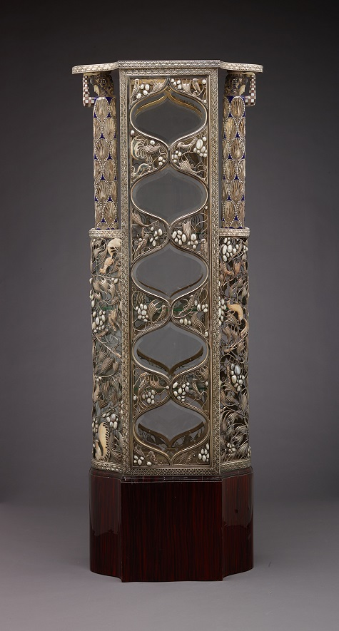 Silver Vitrine (for the 1908 Kunstschau), 1908, Wiener Werkstätte (Vienna Workshops), Vienna, Austria, 1903-1932, maker; Carl Otto Czeschka, Austrian, 1878-1960, designer; Josef Berger, Austrian, 1874/75-?, goldsmith; Josef Hoszfeld, Austrian, 1869-1918, Adolf Erbrich, Austrian, 1874-?, Alfred Mayer, Austrian, 1873-?, silversmiths; Josef Weber, dates unknown, cabinetmaker; Wabak, Albrech, Plasinsky, Cerhan (unidentified craftsmen), silver, moonstone, opal, lapis, lazuli, mother-of-pearl, baroque pearls, onyx, marble, ivory, enamel, glass, and Macassar ebony veneers (replaced), image courtesy of Richard Nagy Ltd, London, Dallas Museum of Art, The Eugene and Margaret McDermott Art Fund, Inc.