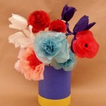 Bouquet of (Paper!) Flowers in a Blue Vase