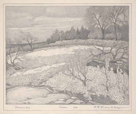 Edward G. Eisenlohr, December, Dallas, 1938, pencil on paper, Dallas Museum of Art, gift of Gertrude Helmle, the estate of E. G. Eisenlohr