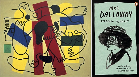 (left) Fernand Léger, The Divers (Red and Black), 1942, oil on canvas, Dallas Museum of Art, Foundation for the Arts Collection, gift of the James H. and Lillian Clark Foundation © Artists Rights Society (ARS), New York / ADAGP, Paris; (right) Mrs Dalloway book jacket, Source: penguin.com.au