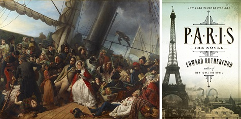 (left) François Auguste Biard, Seasickness on an English Corvette (Le mal de mer, au bal, abord d'une corvette Anglaise), 1857, oil on canvas, Dallas Museum of Art, gift of J.E.R. Chilton; (right) Paris: The Novel book jacket, Source: Amazon.com