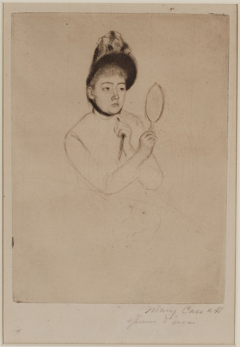 Mary Cassatt, Woman with Mirror, n.d., ink, paper, etching, Dallas Museum of Art, Foundation for the Arts, The Alfred and Juanita Bromberg Collection, bequest of Juanita K. Bromberg 2000.255.FA