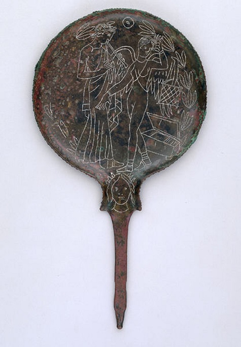 Mirror engraved with flute-player, Etruscan, late 5th-early 4th century B.C, bronze, Dallas Museum of Art, Dallas Art Association purchase, Edwin J. Kiest Memorial Fund 1966.7