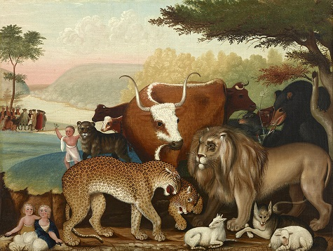 Edward Hicks, The Peaceable Kingdom, c. 1846-1847, oil on canvas, Dallas Museum of Art, The Art Museum League Fund 1973.5