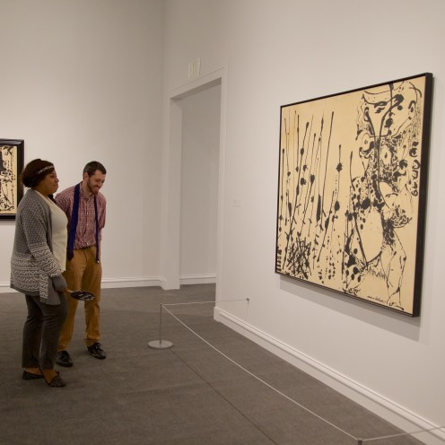 Educators enjoying a preview of Jackson Pollock: Blind Spots