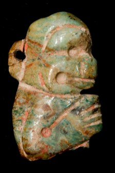 Bead: monkey profile, Olmec, Mexico or Guatemala, Middle to Late Formative period, 500–200 BC, jadeite, Dallas Museum of Art, given in memory of Jerry L. Abramson by his estate 2008.86