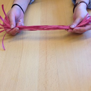 For your basket core, cut the red raffia into ten 24 inch long strands.