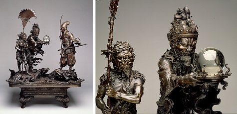 Takenouchi no Sukune Meets the Dragon King of the Sea, Designer: Sanseisha Company, Meiji Period (1868-1912), 1879–1881, bronze and glass, Dallas Museum of Art, Foundation for the Arts Collection, The John R. Young Collection, gift of M. Frances and John R. Young 1993.86.11.FA