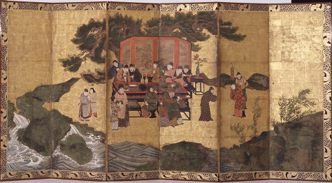 The Eight Immortals of the Wine Cup, Momoyama period, Japan, Ink, Pigment On Gold, Pair Of Six-Fold Screens, The Eugene and Margaret McDermott Art Fund, Inc. 1989.78.A-B.McD