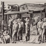 Jerry Bywaters, Election Day In Balmorhea, 1938, lithograph, Dallas Museum of Art, gift of Violet Hayden Dowell from Lone Star Printmakers, First Circuit of Lithographs by Texas Artists