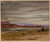 "Jerry Bywaters, ""Rainy Day in the Plains,"" 1940, gouache and pastel on board, Dallas Museum of Art, The Barrett Collection, Dallas, Texas, 2007.15.9"