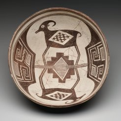 Classic Mimbres Black-on-white bowl: bighorn sheep, Mogollon Mimbres, 1000–1130, ceramic, slip, and paint, Dallas Museum of Art, Foundation for the Arts Collection, anonymous gift. 1990.215.FA