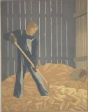"John Butler, ""Man in Corncrib,"" c. 1933-34, color lithograph, Dallas Museum of Art, gift of the Public Works of Art Project, 1935.17"