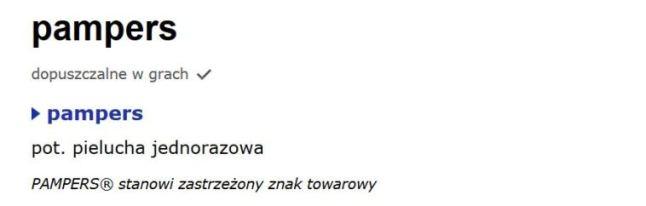 """fragment hasła """"pampers"""" na sjp.pl"""