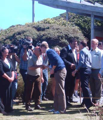 Prince William being welcomed onto Kapiti Island