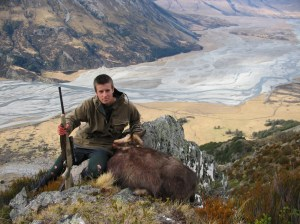 A successful hunter at Hopkins River above Lake Ohau, Canterbury