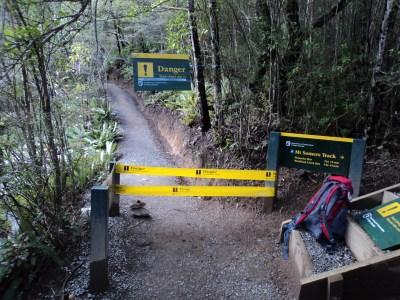 Cordons at the start of the Sharplin Falls track.