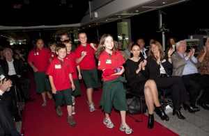 Newmarket Primary School students and makers of Sam the Superworm collect their award
