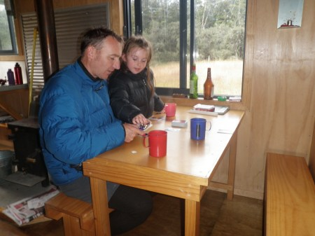 Meg and her Dad Steve inside Magdalen Hut. Photo: Jenny Christie.