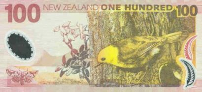 A New Zealand $100 bank note featuring a Mohua/Yellowhead.