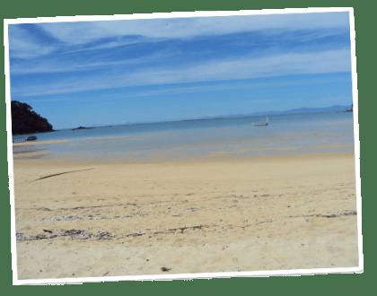 Idyllic image of  a beach on the Abel Tasman Coastal Track.