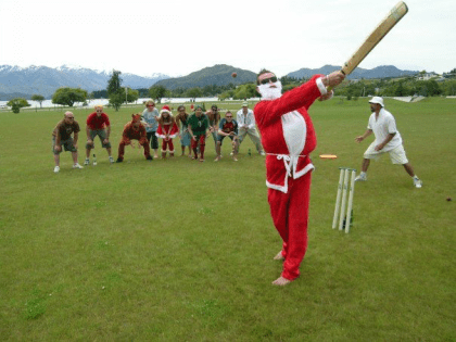 Cricket on the Wanaka lakefront.
