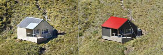 Tarn Ridge Hut: Photos before painting and after painting.