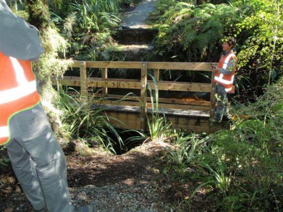 The bridge on Lake Ellery Track that was damaged by flood.