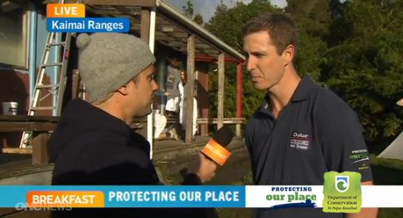 Breakfast TV's Sam Wallace and Dulux's Karl King, at Daly's Hut.