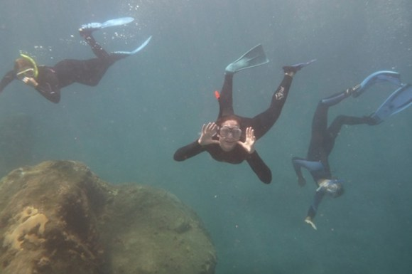 Three people diving in the Kermadec Islands Marine Reserve.