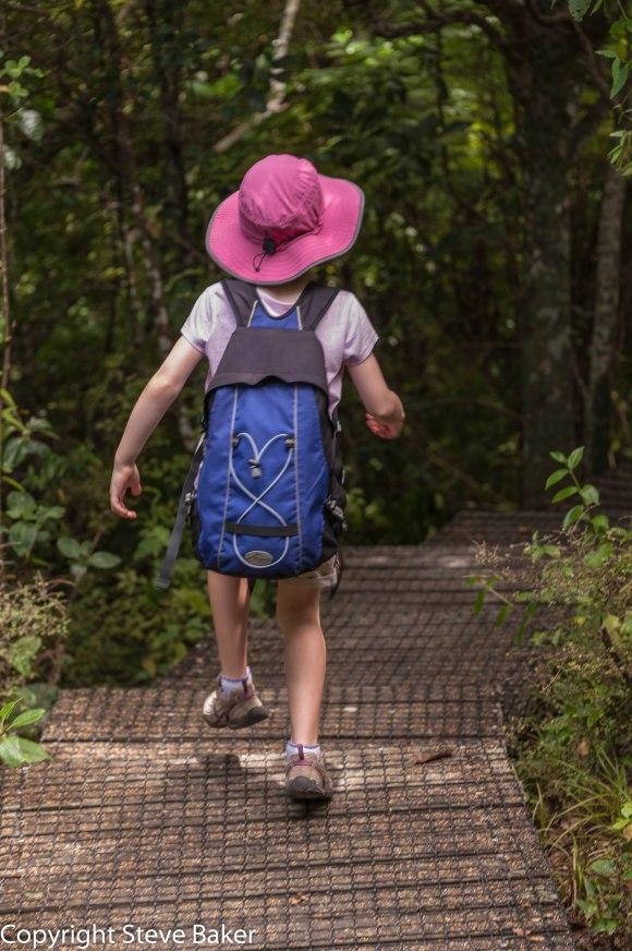 Meg walking on track in bush.