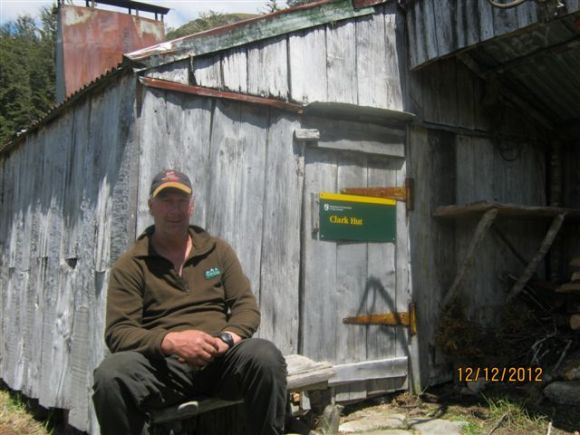 Greg outside another historic hut that required maintenance.