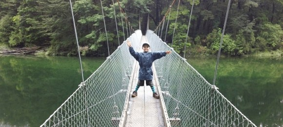 Jasper on the Clinton River swing bridge, Milford Track.