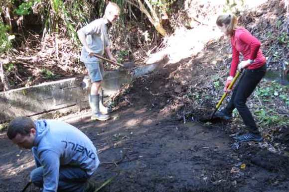 Volunteers digging out a historic structure.