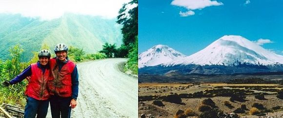 Carolyn on the La Paz to Coroico road and a photo of Sajama mountain.