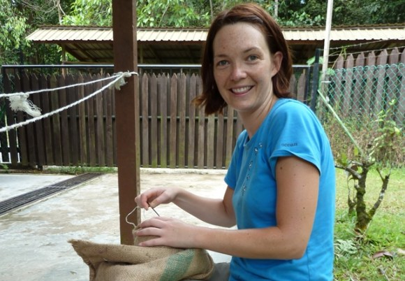 Chantelle making orangutan enrichment.