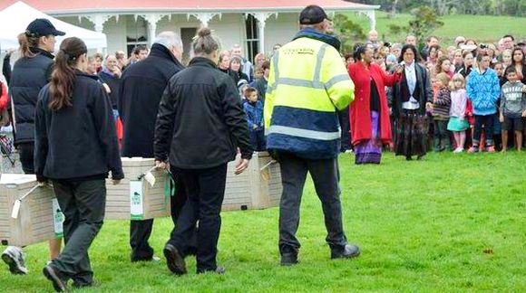 Pōwhiri at the homestead to welcome the new arrivals.