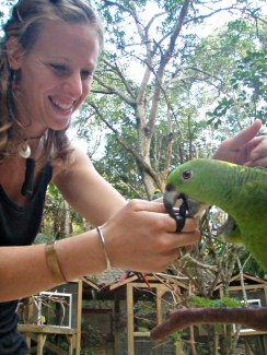 Robyn Crisford with a parrot at a bird park in Honduras.