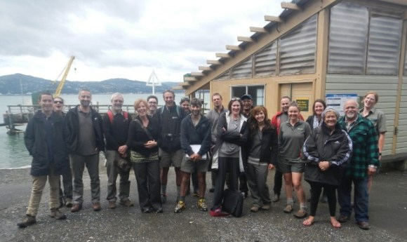 Attendees of the biosecurity hui on Matiu/Somes Island.